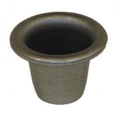 A tall candlestick holder with a drip tray ridge
