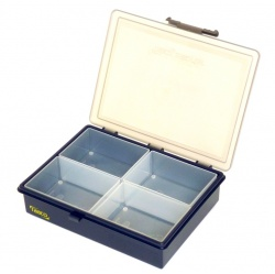 Small Plastic Storage Box  with 4 separate Compartments-great for rivets