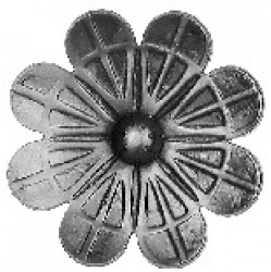 A cast Steel Rosette with a stalk ideal for wrought iron work