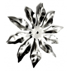 A ten petal flower made from lightweight steel  looks great as  base to a small candle holder