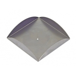 a square church candle tray with a decorative curved boarder  with a  small central hole