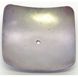 A candle dish holder  in the shape of a  rounded square a great contrast to a round  candle