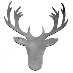 Metal silhouette in the classic shape of a stags head