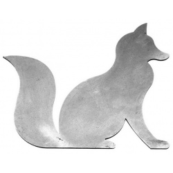 Wildlife silhouette made out of metal in the shape of a fox