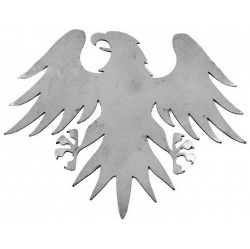 An Eagle shaped silhouette  made out of steel showing it's fully spread wings