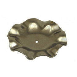 a silver candle plate made from steel with frilled edges
