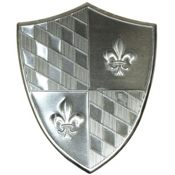 The Heraldic shied is a small tin metal shield with great detail  you can attach easily